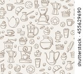 seamless background with coffee ... | Shutterstock .eps vector #455629690
