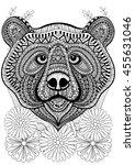 zentangle stylized bear face on ... | Shutterstock .eps vector #455631046