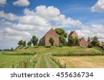 medieval church on a mound in... | Shutterstock . vector #455636734