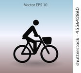 flat cyclist icon | Shutterstock .eps vector #455642860