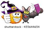 cartoon pumpkin and bat taking... | Shutterstock .eps vector #455644654