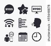 byod icons. human with notebook ... | Shutterstock . vector #455648878