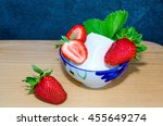 fresh strawberries and cottage... | Shutterstock . vector #455649274