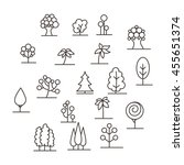 lined trees logo set. vector... | Shutterstock .eps vector #455651374