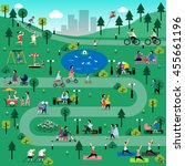 rest in the park info graphic... | Shutterstock .eps vector #455661196