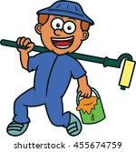 painter with bucket of paint... | Shutterstock .eps vector #455674759