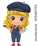 illustration of a little girl... | Shutterstock .eps vector #455682793