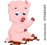 cute pig cartoon   Shutterstock .eps vector #455685469