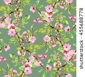 watercolor seamless floral... | Shutterstock . vector #455688778