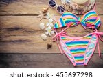 Beauty Colorful Bikini And...