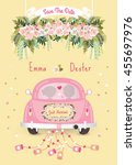 just married car with save the... | Shutterstock .eps vector #455697976