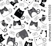 set of cats on a white... | Shutterstock .eps vector #455703103