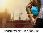 worker or engineer holding in... | Shutterstock . vector #455706640