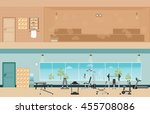 set of fitness gym interior... | Shutterstock .eps vector #455708086