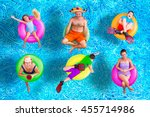 family fun in the swimming pool ... | Shutterstock . vector #455714986