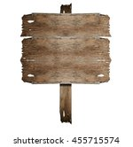 wooden sign isolated on white....   Shutterstock . vector #455715574