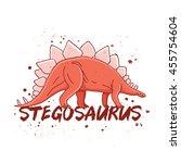 stegosaurus. big red dinosaur.... | Shutterstock .eps vector #455754604