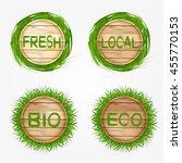 wooden eco  bio  fresh label...   Shutterstock .eps vector #455770153