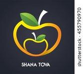 happy new year  shana tova in... | Shutterstock .eps vector #455790970
