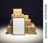 pile of cardboard box and empty ... | Shutterstock . vector #455795458