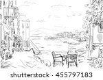 drawing to the greek town   ... | Shutterstock . vector #455797183