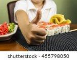 boy eating sushi   Shutterstock . vector #455798050