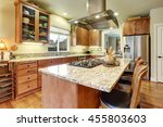 classic large wood kitchen... | Shutterstock . vector #455803603