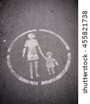 old pedestrian sign  painted on ...   Shutterstock . vector #455821738