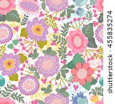 floral pattern in cartoon style.... | Shutterstock .eps vector #455835274