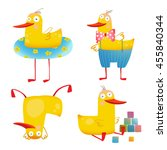 child duck funny colorful toy... | Shutterstock .eps vector #455840344