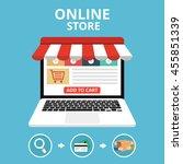 online store concept. set icons.... | Shutterstock .eps vector #455851339