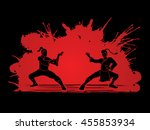 kung fu action ready to fight... | Shutterstock .eps vector #455853934