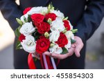 the groom holding a wedding... | Shutterstock . vector #455854303