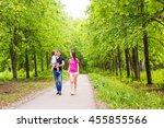 happy young family spending... | Shutterstock . vector #455855566