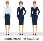 elegant pretty business woman... | Shutterstock .eps vector #455860810