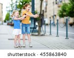 two cute little sisters playing ... | Shutterstock . vector #455863840