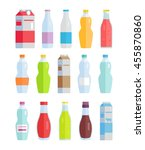 set of bottles and paper packs... | Shutterstock .eps vector #455870860