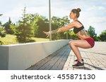 sport girl trying jumping   Shutterstock . vector #455871130