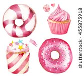watercolor sweets set. hand... | Shutterstock . vector #455875918