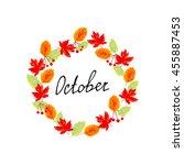 autumn  wreath with word... | Shutterstock . vector #455887453