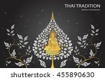 buddha and leaf of thai... | Shutterstock .eps vector #455890630