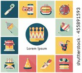 celebration and birthday icons... | Shutterstock .eps vector #455891593