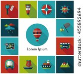 travel and tourism icons set | Shutterstock .eps vector #455892694