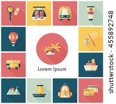 travel and tourism icons set | Shutterstock .eps vector #455892748