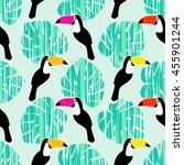 toucan seamless pattern. retro... | Shutterstock .eps vector #455901244
