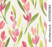 seamless watercolor floral... | Shutterstock . vector #455908384