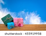 gift box with blur cloud on... | Shutterstock . vector #455919958