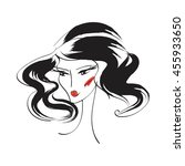 face glamorous girl with... | Shutterstock .eps vector #455933650