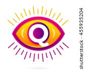 letter q with eye icon on white....   Shutterstock .eps vector #455935204
