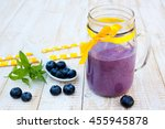 smoothie with blueberries on... | Shutterstock . vector #455945878
